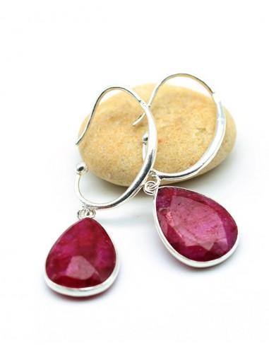Boucle argent et pierre rose en rubis - Mosaik bijoux indiens