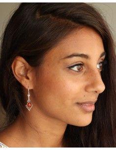 Boucles argent et cornaline - Mosaik bijoux indiens 2