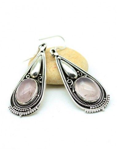 Boucles d'oreilles argent travaillées et quartz rose - Mosaik bijoux indiens