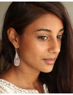 Boucles d'oreilles argent travaillées et quartz rose - Mosaik bijoux indiens 2