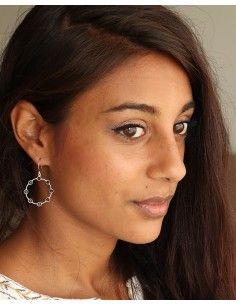 Boucles d'oreilles argent et onyx noir - Mosaik bijoux indiens 2