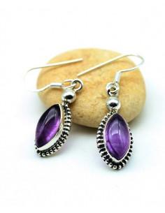 Boucles d'oreilles argent et pierre violette - Mosaik bijoux indiens