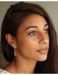 Boucles d'oreilles argent et pierre violette - Mosaik bijoux indiens 2