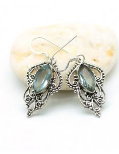 Boucles d'oreilles argent et topaze - Mosaik bijoux indiens