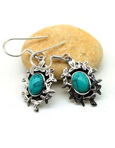 Boucles d'oreilles argent et turquoise - Mosaik bijoux indiens