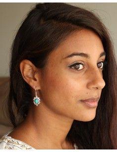 Boucles d'oreilles argent et turquoise - Mosaik bijoux indiens 2