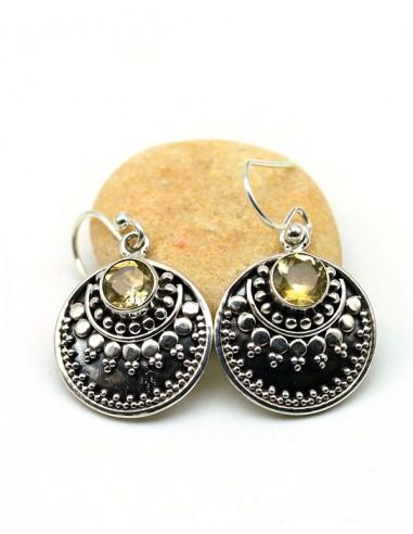 Boucles d'oreilles argent et citrine ronde taillées - Mosaik bijoux indiens