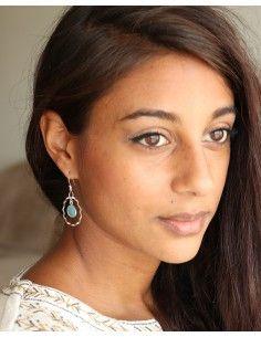 Boucles d'oreilles argent et pierre bleue - Mosaik bijoux indiens 2