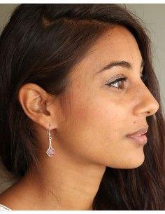 Boucles argent et rubis rose - Mosaik bijoux indiens 2