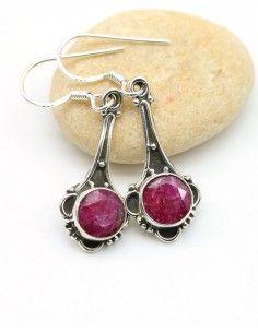 Boucles argent et rubis rose - Mosaik bijoux indiens