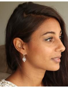 Boucles d'oreilles pierre violette en argent - Mosaik bijoux indiens 2