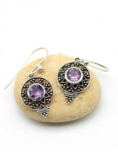 Boucles d'oreilles pierre violette en argent - Mosaik bijoux indiens