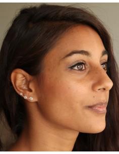 Clou d'oreille préhnique et argent - Mosaik bijoux indiens 2