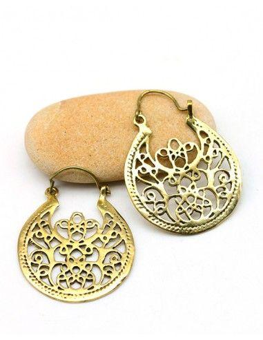 Créoles travaillées dorées - Mosaik bijoux indiens