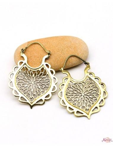 Créoles stylisées dorées - Mosaik bijoux indiens