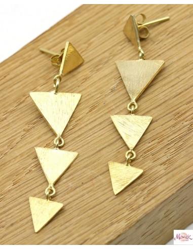 Boucles d'oreilles laiton triangle - Mosaik bijoux indiens