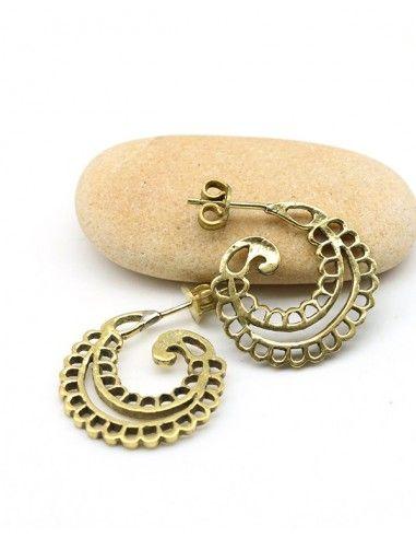 Clou d'oreille travaillé doré - Mosaik bijoux indiens