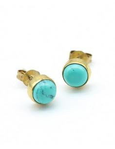 clou d'oreille doré et turquoise - Mosaik bijoux indiens