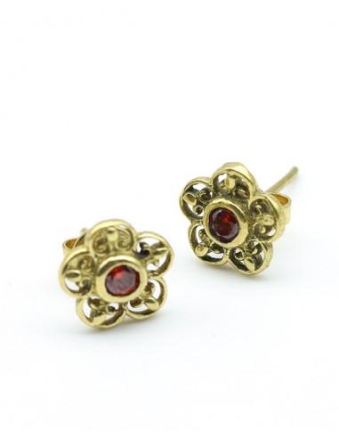 clou d'oreille fleur doré - Mosaik bijoux indiens