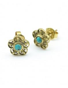 clou d'oreille fleur et turquoise - Mosaik bijoux indiens