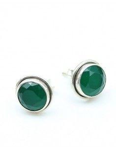 clou d'oreille argent pierre verte - Mosaik bijoux indiens