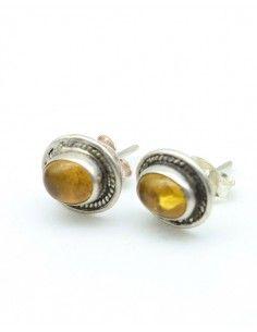 clou d'oreille argent et ambre ovale - Mosaik bijoux indiens