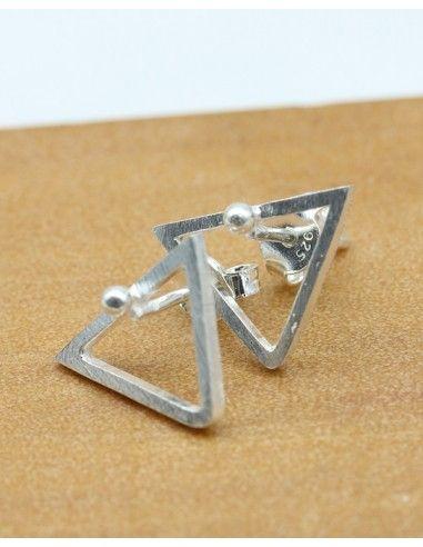 Clou d'oreille triangle argent - Mosaik bijoux indiens