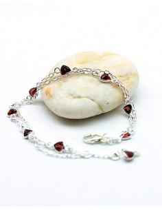 bracelet argent et pierres rouges - Mosaik bijoux indiens
