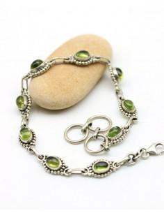 bracelet argent et pierres verte - Mosaik bijoux indiens