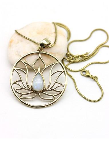 pendentif lotus et pierre de lune - Mosaik bijoux indiens