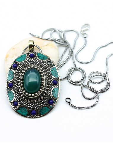 pendentif ethnique et pierre verte - Mosaik bijoux indiens