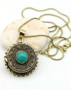 pendentif ethnique doré - Mosaik bijoux indiens
