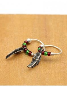 créole plume argent bohème - Mosaik bijoux indiens