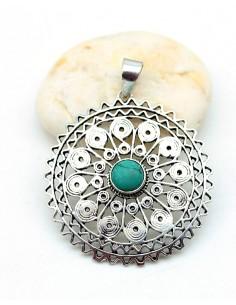 pendentif rosace  pierre bleue - Mosaik bijoux indiens