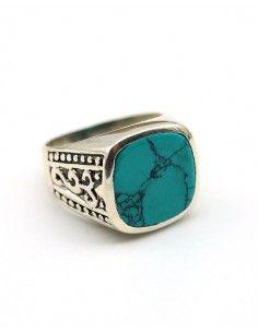 Bague homme argent et turquoise - Mosaik bijoux indiens