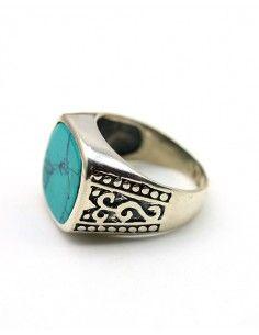 Bague homme argent et turquoise - Mosaik bijoux indiens 2