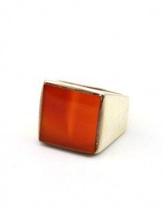 Bague argent pour homme pierre orange - Mosaik bijoux indiens