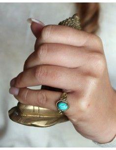 Bague dorée et turquoise - Mosaik bijoux indiens 2