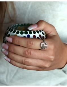 Bague lotus argent - Mosaik bijoux indiens 2
