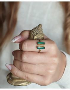Bague ajustable doré pierres vertes - Mosaik bijoux indiens 2