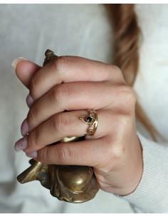 Bague dorée travaillée et onyx - Mosaik bijoux indiens 2