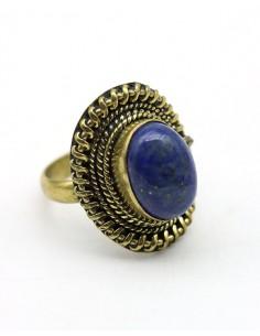 Bague dorée lapis lazuli - Mosaik bijoux indiens