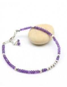 Bracelet argent et améthyste - Mosaik bijoux indiens