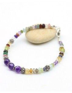 Bracelet pierre naturelles et argent - Mosaik bijoux indiens
