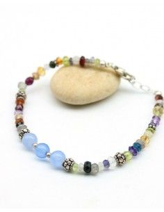 Bracelet pierres taillées et perles argent - Mosaik bijoux indiens