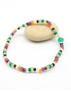 Bracelet pierres naturelles élastique - Mosaik bijoux indiens
