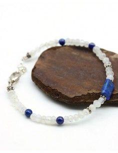 Bracelet pierre bleue et blanche - Mosaik bijoux indiens
