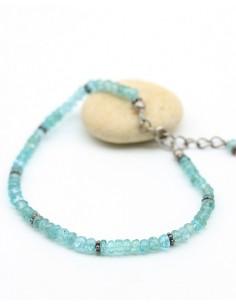 Bracelet pierre bleue taillée - Mosaik bijoux indiens