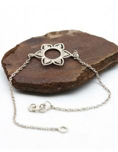 Bracelet fleur en argent fin - Mosaik bijoux indiens