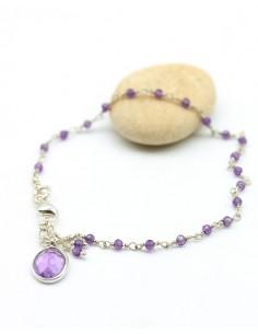 Bracelet fin argent et pierre violette - Mosaik bijoux indiens